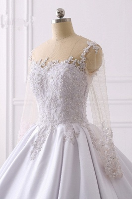 Satin Tulle Long Sleeves Ruffles Lace Bridal Gowns Online_5