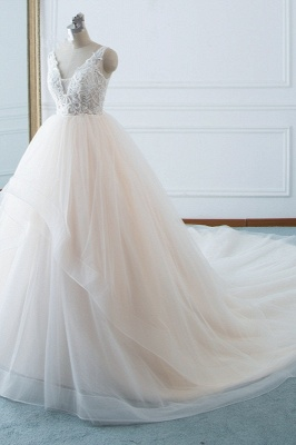 White Sleeveless Lace Top Tulle Wedding Dresses_3