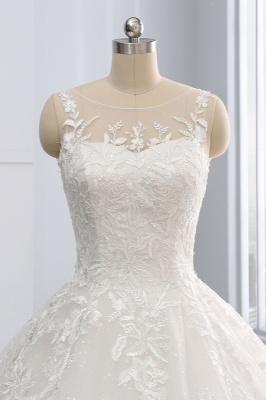 Ball Gown Jewel Tulle Ruffles Sleeveless Lace Wedding Dresses_5