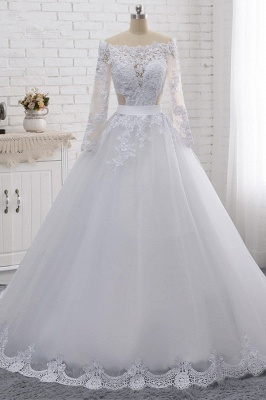Off-the-Shoulder Long Sleeves Lace Tulle Wedding Dresses_1