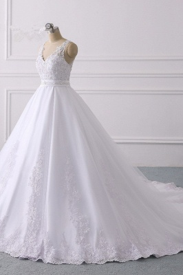 V-Neck Satin Tulle Lace White Sleeveless Bridal Gowns_3