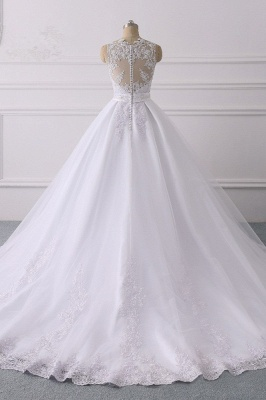 V-Neck Satin Tulle Lace White Sleeveless Bridal Gowns_2