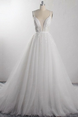 A-Line Deep-V-Neck Sleeveless Tulle Wedding Dresses_1
