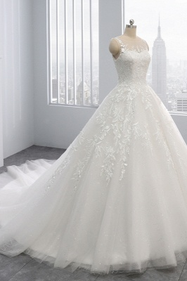 Ball Gown Jewel Tulle Ruffles Sleeveless Lace Wedding Dresses_3