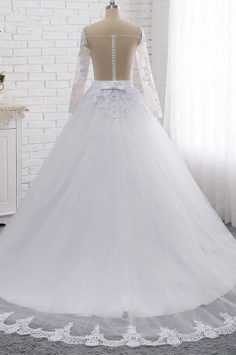 Off-the-Shoulder Long Sleeves Lace Tulle Wedding Dresses_2