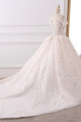 Ball Gown V-Neck Tulle Beadings Short Sleeves Bridal Gowns_4