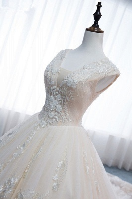 Tulle Lace Appliques V-Neck Pearls Sleeveless Wedding Dresses_5