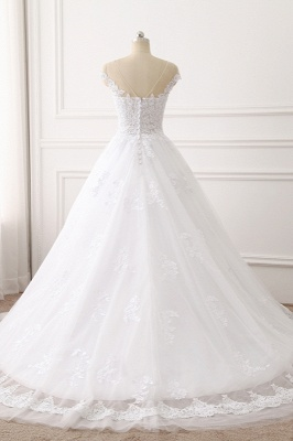 Jewel Sleeveless Tulle Lace White Wedding Dresses_2