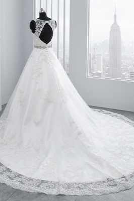 A-Line Appliques Beadings Tulle Lace Wedding Dresses_4