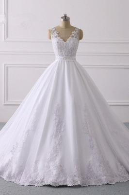 V-Neck Satin Tulle Lace White Sleeveless Bridal Gowns_1