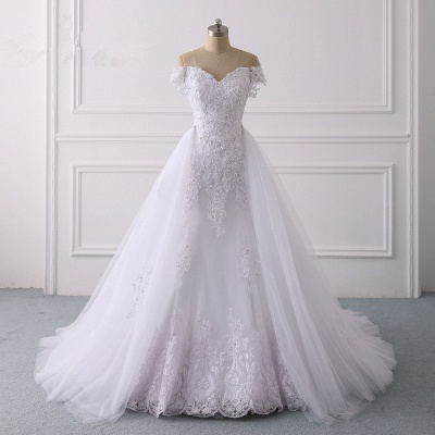 Off-the-Shoulder Sleeveless Tulle Lace Wedding Dresses_8