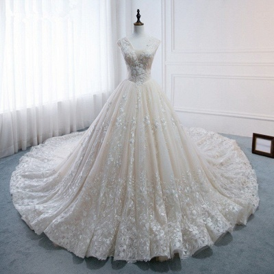 Tulle Lace Appliques V-Neck Pearls Sleeveless Wedding Dresses_7