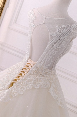 Jewel Lace Appliques Sleeveless Beadings Wedding Dresses_4