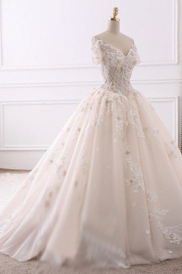 Ball Gown V-Neck Tulle Beadings Short Sleeves Bridal Gowns_3