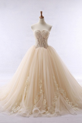 Simple Strapless Sleeveless Champagne Tulle Wedding Dresses