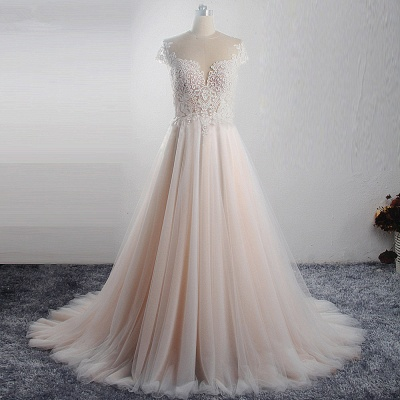 Short Sleeves Jewel Tulle Lace Wedding Dresses_5