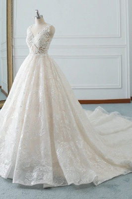 A-Line Jewel White Tulle Lace Bridal Gowns Online_3