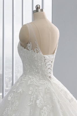 Ball Gown Jewel Tulle Ruffles Sleeveless Lace Wedding Dresses_7