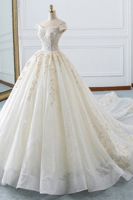 Sequined Off-the-Shoulder Ball Gown Sweetheart Wedding Dresses_4
