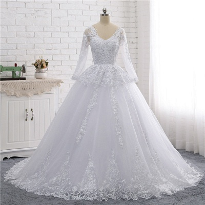 Long Sleeves Tulle Lace Ball Gown V-Neck Sequins Wedding Dress_7