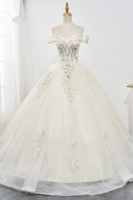Champagne Tulle Ball Gown Lace Wedding Dresses Sleeveless_1