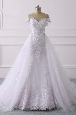Off-the-Shoulder Sleeveless Tulle Lace Wedding Dresses_1