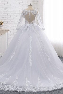 Long Sleeves Tulle Lace Ball Gown V-Neck Sequins Wedding Dress_2