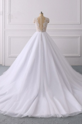 Jewel Tulle Ruffles LaceShort-Sleeves Bridal Gowns_2