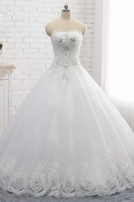 A-Line Lace Appliques Sleeveless Tulle Rhinestones Wedding Dresses_1
