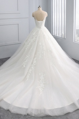 Ball Gown Jewel Tulle Ruffles Sleeveless Lace Wedding Dresses_2