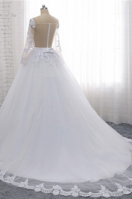 Off-the-Shoulder Long Sleeves Lace Tulle Wedding Dresses_4