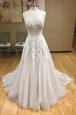 Spaghetti-Straps V-Neck Tulle Appliques Sleeveless Wedding Dresses