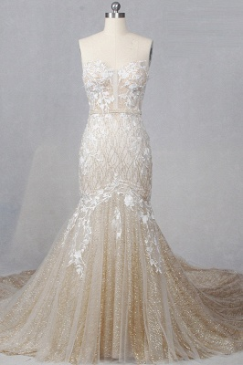 Straplees Pink Sequined Appliques Sleeveless Bridal Gowns