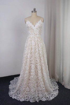 A-Line Sleeveless Long V-Neck Lace Wedding Dresses