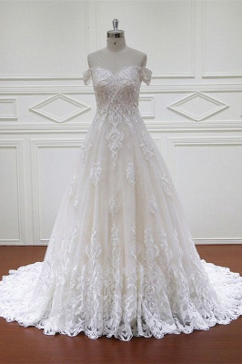 Off-the-Shoulder Sweetheart White Tulle Lace Wedding Dresses