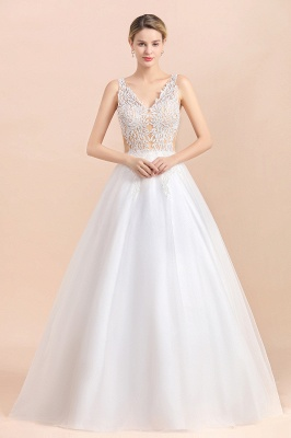 A Line Lace Chiffon  V Neck Champagne Wedding Dresses Sleeveless_5