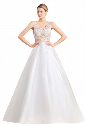 A Line Lace Chiffon  V Neck Champagne Wedding Dresses Sleeveless_4