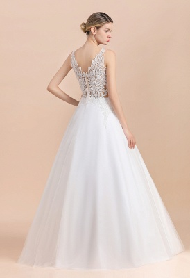 A Line Lace Chiffon  V Neck Champagne Wedding Dresses Sleeveless_13