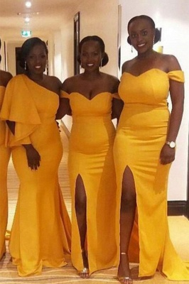 Mermaid One Shoulder Long Yellow Bridesmaid Dresses_1