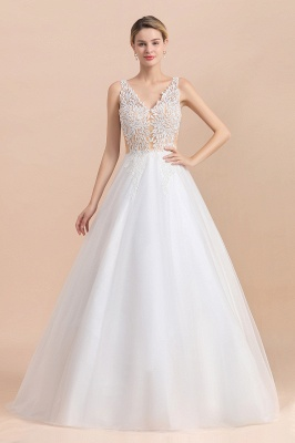 A Line Lace Chiffon  V Neck Champagne Wedding Dresses Sleeveless_2