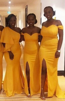 Mermaid One Shoulder Long Yellow Bridesmaid Dresses_2