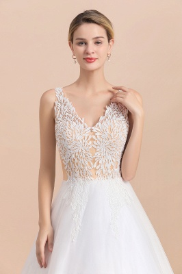 A Line Lace Chiffon  V Neck Champagne Wedding Dresses Sleeveless_7