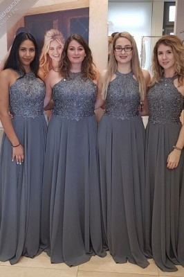 Grey Halter Lace Chiffon Long Bridesmaid Dresses