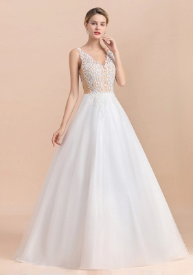A Line Lace Chiffon  V Neck Champagne Wedding Dresses Sleeveless_9