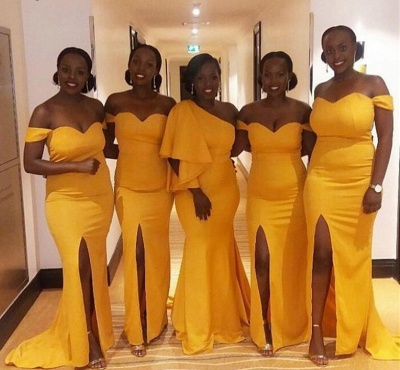 Mermaid One Shoulder Long Yellow Bridesmaid Dresses_3