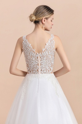 A Line Lace Chiffon  V Neck Champagne Wedding Dresses Sleeveless_11