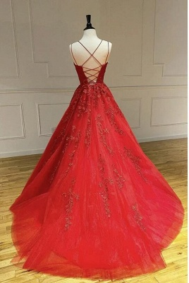 A Line Red Lace Tulle Prom Dresses Sleeveless_3