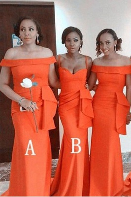 Off the Shoulder Long Orange Bridesmaid Dresses Mermaid