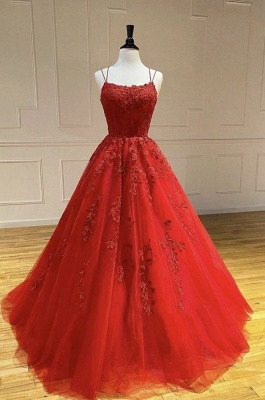 A Line Red Lace Tulle Prom Dresses Sleeveless_4