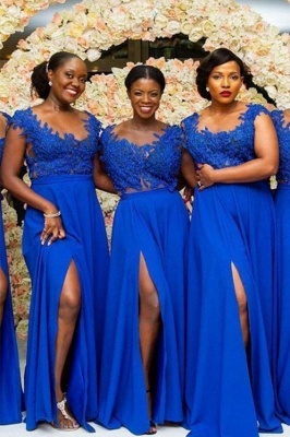 Royal Blue Lace Chiffon Long Bridesmaid Dresses Mermaid